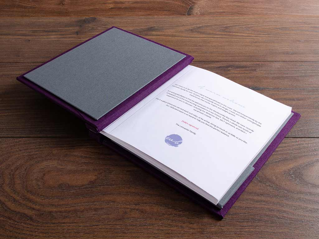 custom made luxury guest book in grey and purple