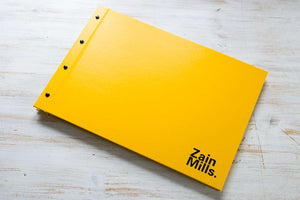 yellow screw post photographers portfolio book with personalised cover