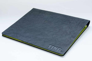 black a4 leather portfolio book with personalised cover and down green fabric lining
