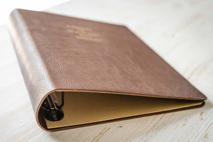 personalised a4 brown leather ring binder