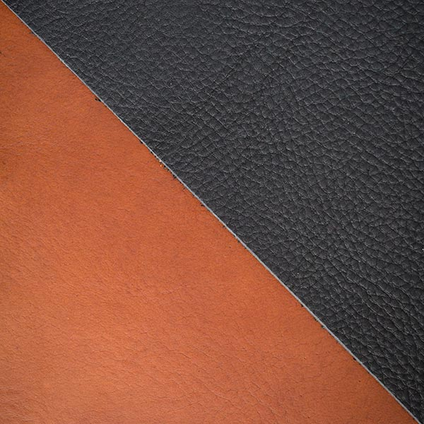 samples of 2.5mm and 3.5mm veg tanned leather hides showing the different textures