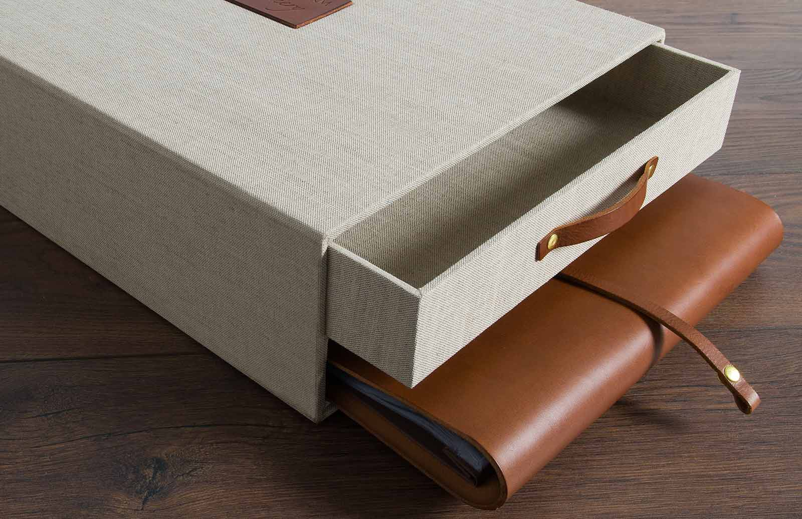 keepsake box with drawer and leather album by hartnack and co