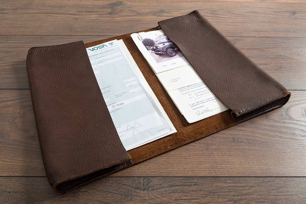 Leather document wallet for a series 1 Landrover
