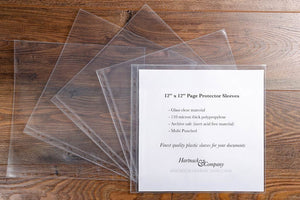 12 x 12 inch page protector sleeves. Multi punched, glass clear and archive safe and sold in packs of 10