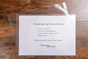 Premium quality glass clear A3 landscape page protectors sold in packs of 10