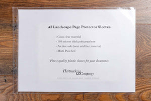 A3 landscape page protector sleeve by Hartnack and Co