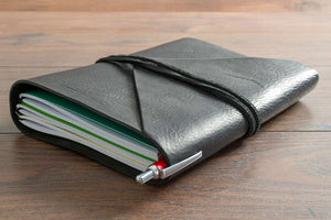 Black Notebook Cover with 3 x A5 Notebooks and Pen with Leather Wrap