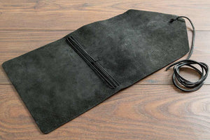 Single Piece Leather Cover with Natural Suede Backing showing Four Elastic Ties