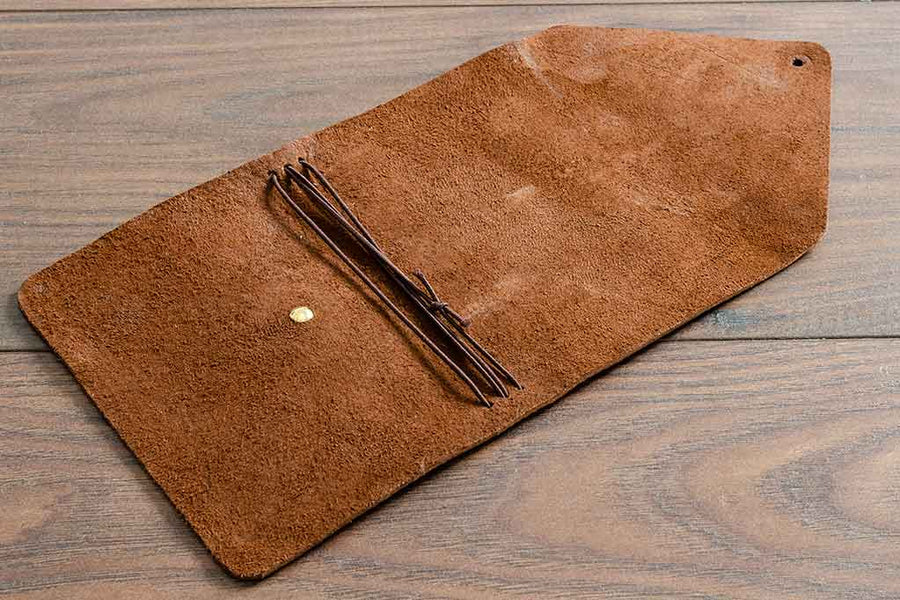 Brown Leather Notebook Cover (Empty). Double Fold Cover with Brass Button Closure