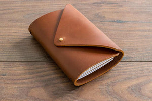A6 Leather Notebook Holder - 3.5mm Leather with Metal Button