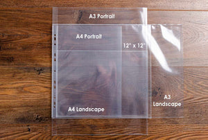 High quality glass clear polypropylene pages protector sleeves in A4, A3 and 12x12