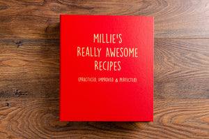 Cool looking personalised recipe book in a durable and hard waring red buckram book cloth