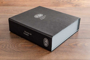 A4 sized leather box file in black 2.5mm thick leather with personalised cover and spine in silver foiling