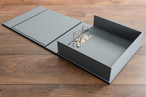 2 ring lever arch mechanism in leather box file. Inner tray and covers in plate grey book cloth