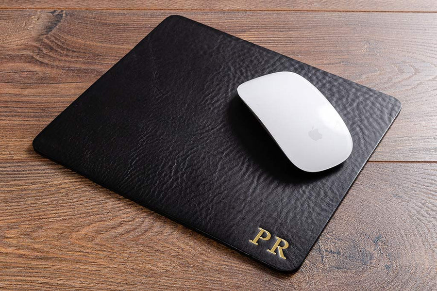 Personalised leather computer mouse mat with blind debossed logo