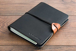 A5 Black Leather Notebook Cover Personalised and Embossed and With an Elastic Cord Holder