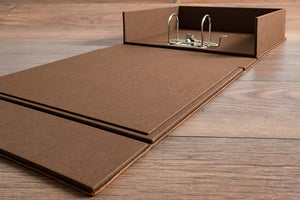 Substantial double layered box tray cover in darling brown book cloth with a 2 ring lever arch mechanism