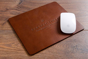 Personalised leather mouse mat with blind debossed logo