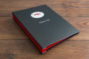 A4 hidden screw post vehicle document binder in charcoal buckram with full colour personalisation on the cover.