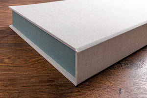 The outer covers of our clamshell boxes are made from 4mm thick grey board which provides for an elegant, but very strong outer cover.