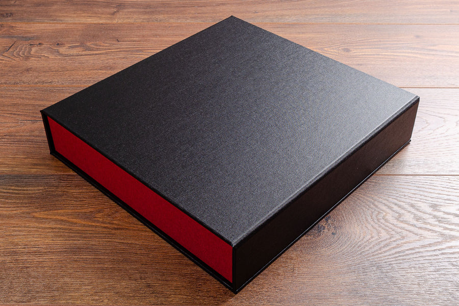Ring binder box file A4 size with 4 ring D binder in black and red