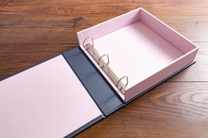Clamshell box file with 3 ring D binder mechanism