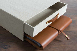 bespoke leather album and keepsake box combination