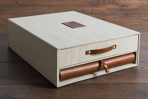 Leather Album Drawer Box Keepsake Memory Box