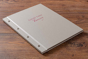 Personalised exposed screw post portfolio book in beige buckram