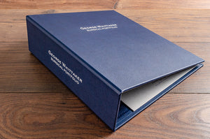 Luxury high quality bespoke medical surgical portfolio in blue faux leather with personalisation on the cover and spine