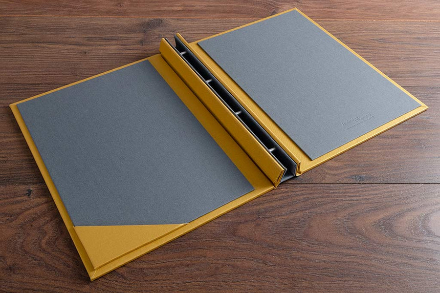 Custom made HSP Guest Book in Gold Buckram with grey and blind deboss personalisation