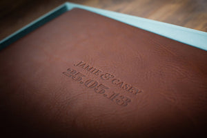 bespoke designed wedding stationery blind debossed on leather album