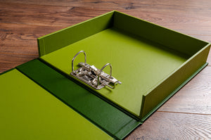 Lever arch clamshell binder in green buckram book cloth