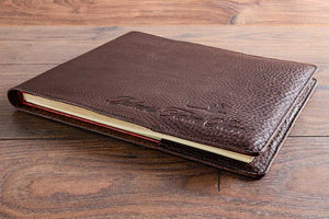 Personalised logos or name can be placed on the bottom right or middle of the leather book jacket