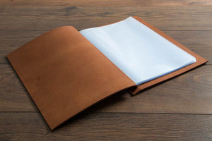 leather menu cover open with page protectors (not included)