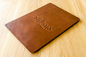 A4 leather menu holder in 3.5mm brown leather