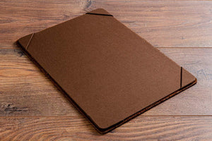 A4 leather menu board with Darling brown book cloth menu holder