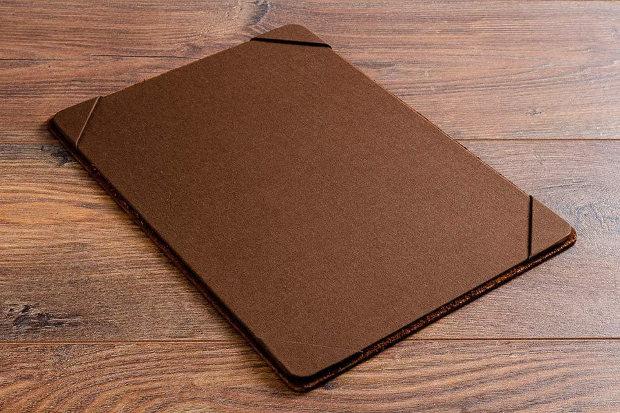 Personalised leather menu board with 2.5mm dark brown leather