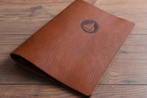 Brown Leather Menu Cover with Personalised Cover