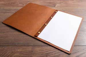 Brown leather menu cover for A4 page