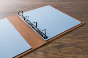 custom made leather ruing binder portfolio book open