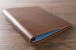 leather ring binder portfolio custom made in veg tan leather by H&Co