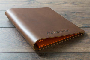 Brown leather portfolio book - screw post A4 format