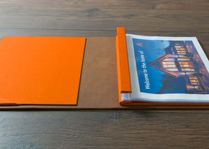 A4 leather folder with plastic page protectors