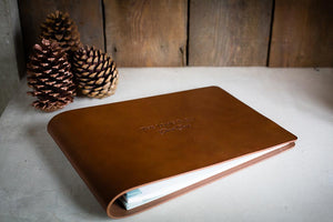 personalised leather guest and visitors book