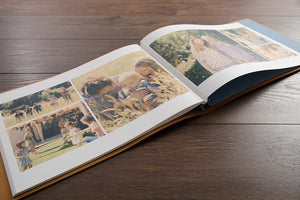 luxury leather wedding album with printed and laid out pages