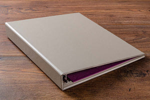 Custom made ring binder in beige buckram