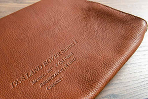 Blind Debossed Personalisation Detail on Tan Leather Document Wallet