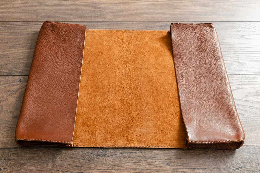 Leather Document Holder With Double Pockets and Blind Embossed Cover - Tan Leather