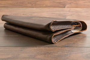 Custom Leather Document Wallet with Double Pockets - Brown Leather